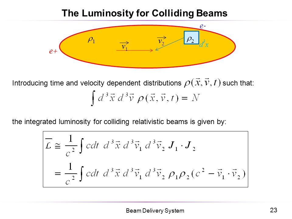 The Luminosity for Colliding Beams