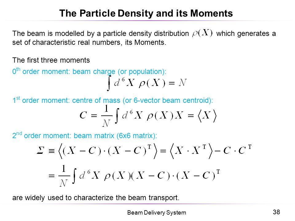 The Particle Density and its Moments