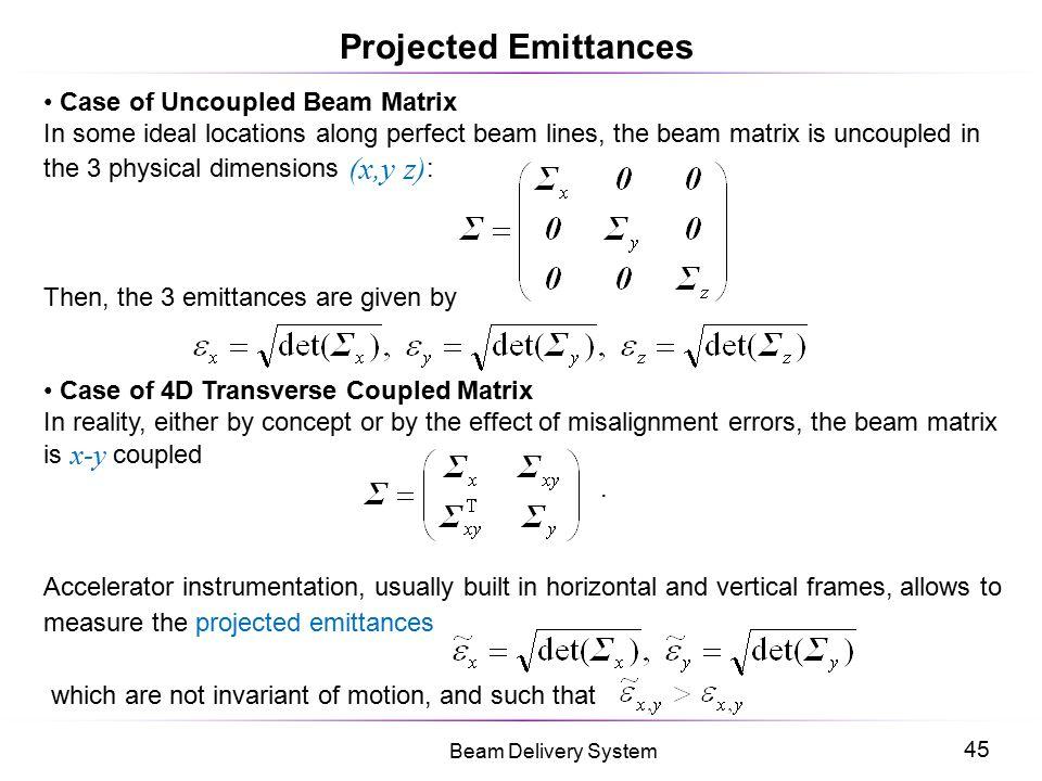 Projected Emittances Case of Uncoupled Beam Matrix