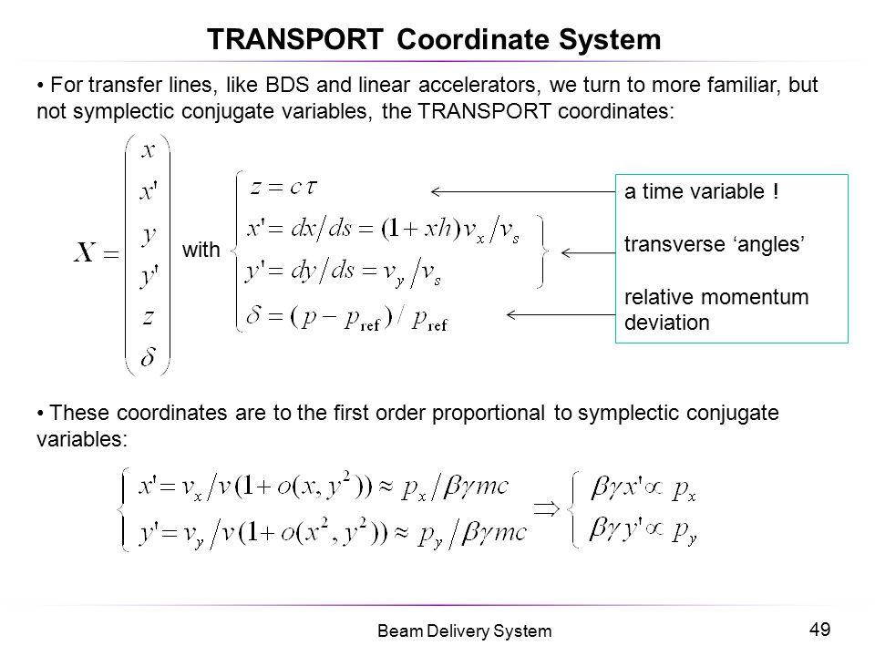 TRANSPORT Coordinate System