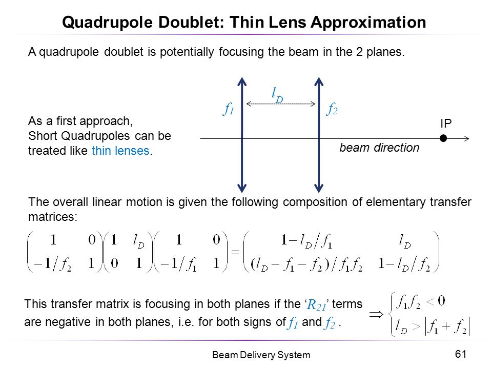 Quadrupole Doublet: Thin Lens Approximation