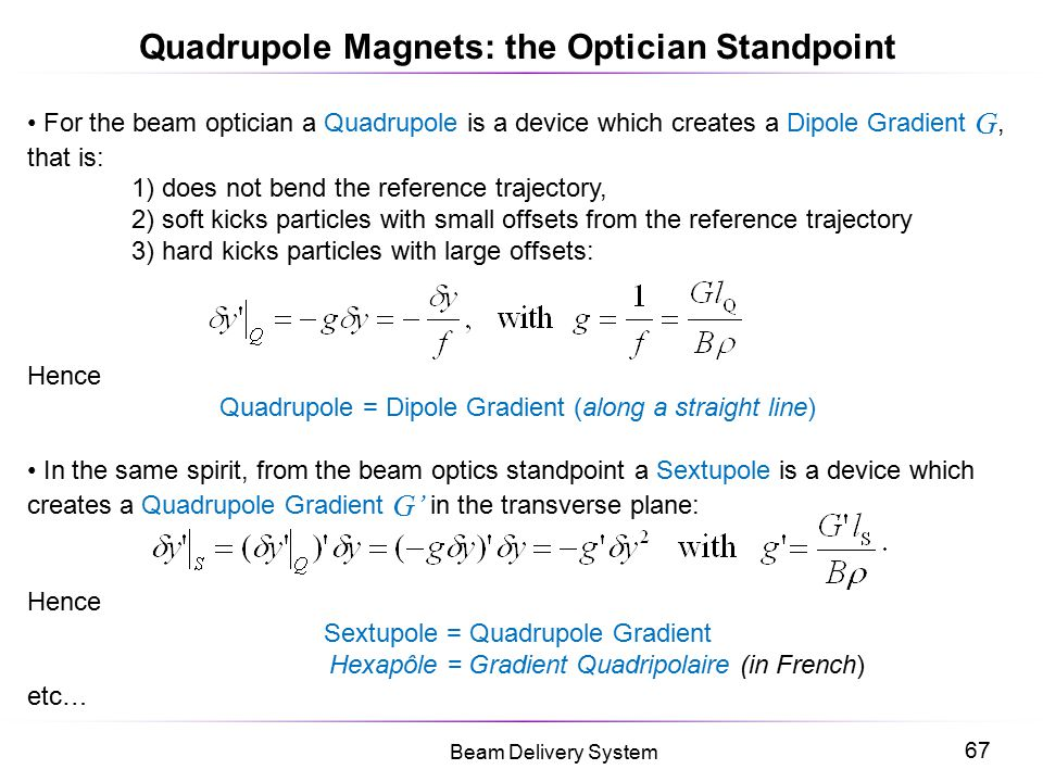 Quadrupole Magnets: the Optician Standpoint