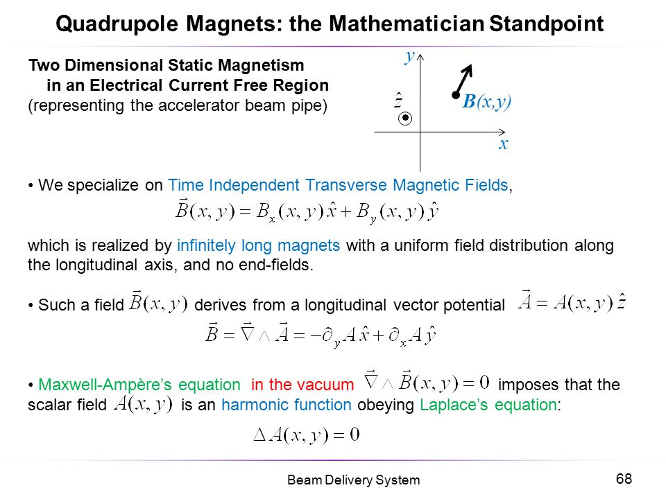 Quadrupole Magnets: the Mathematician Standpoint