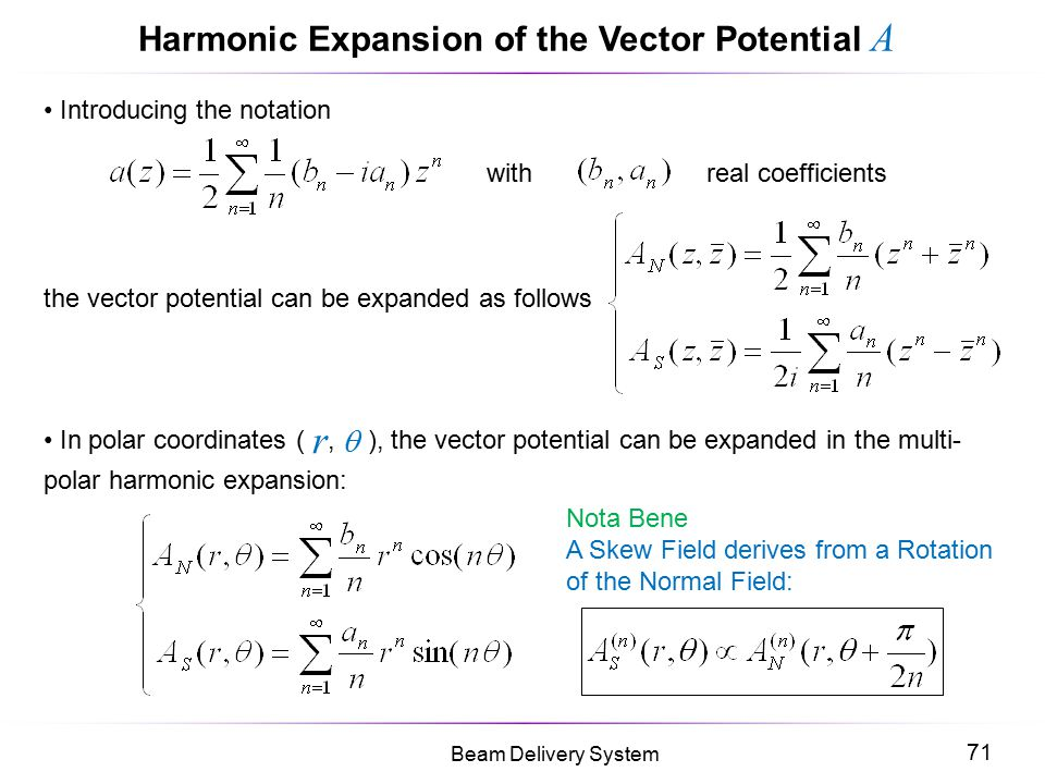 Harmonic Expansion of the Vector Potential A