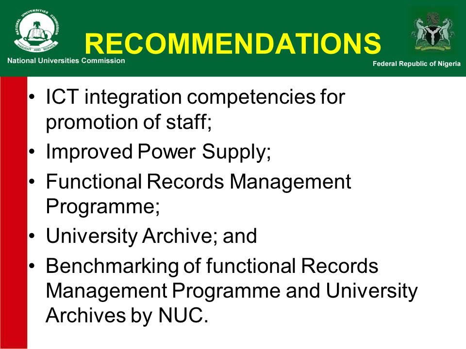 RECOMMENDATIONS ICT integration competencies for promotion of staff;