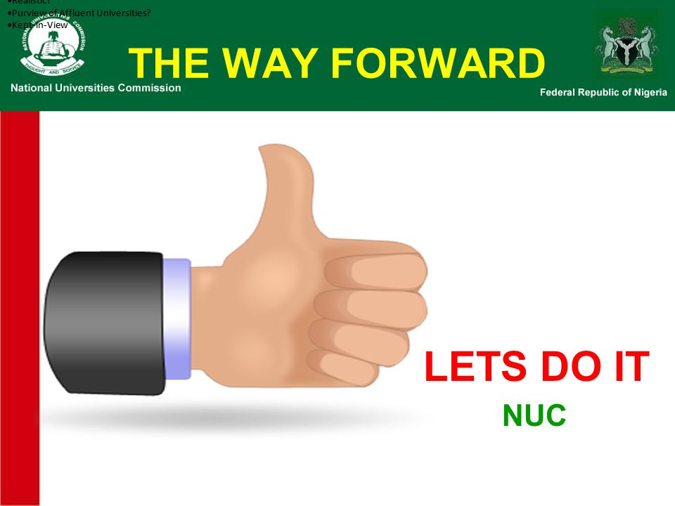 THE WAY FORWARD LETS DO IT NUC Questions Data Warehousing Initiative