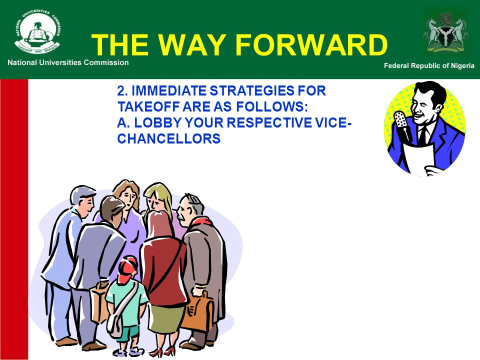 THE WAY FORWARD 2. IMMEDIATE STRATEGIES FOR TAKEOFF ARE AS FOLLOWS: