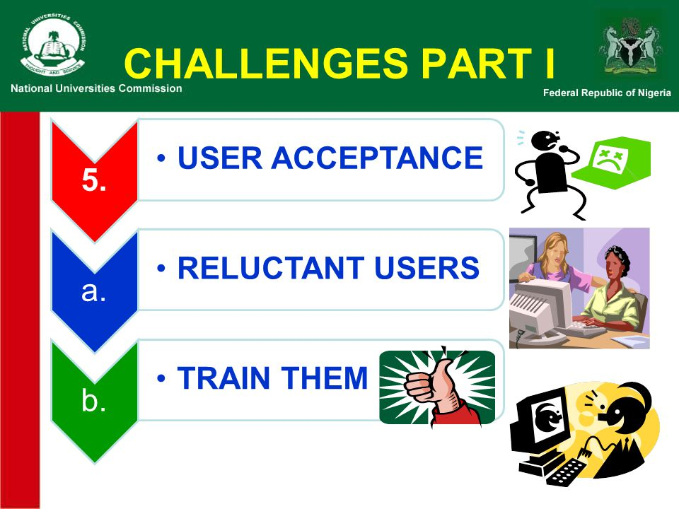 CHALLENGES PART I 5. USER ACCEPTANCE a. RELUCTANT USERS b. TRAIN THEM