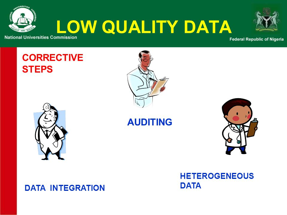 LOW QUALITY DATA CORRECTIVE STEPS AUDITING HETEROGENEOUS DATA