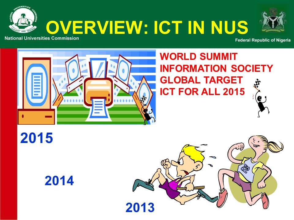 OVERVIEW: ICT IN NUS 2015 2014 2013 WORLD SUMMIT INFORMATION SOCIETY