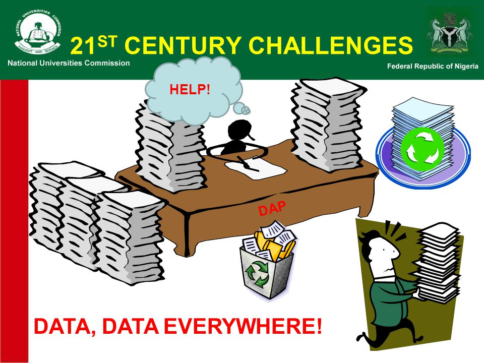 21ST CENTURY CHALLENGES HELP! DAP DATA, DATA EVERYWHERE!