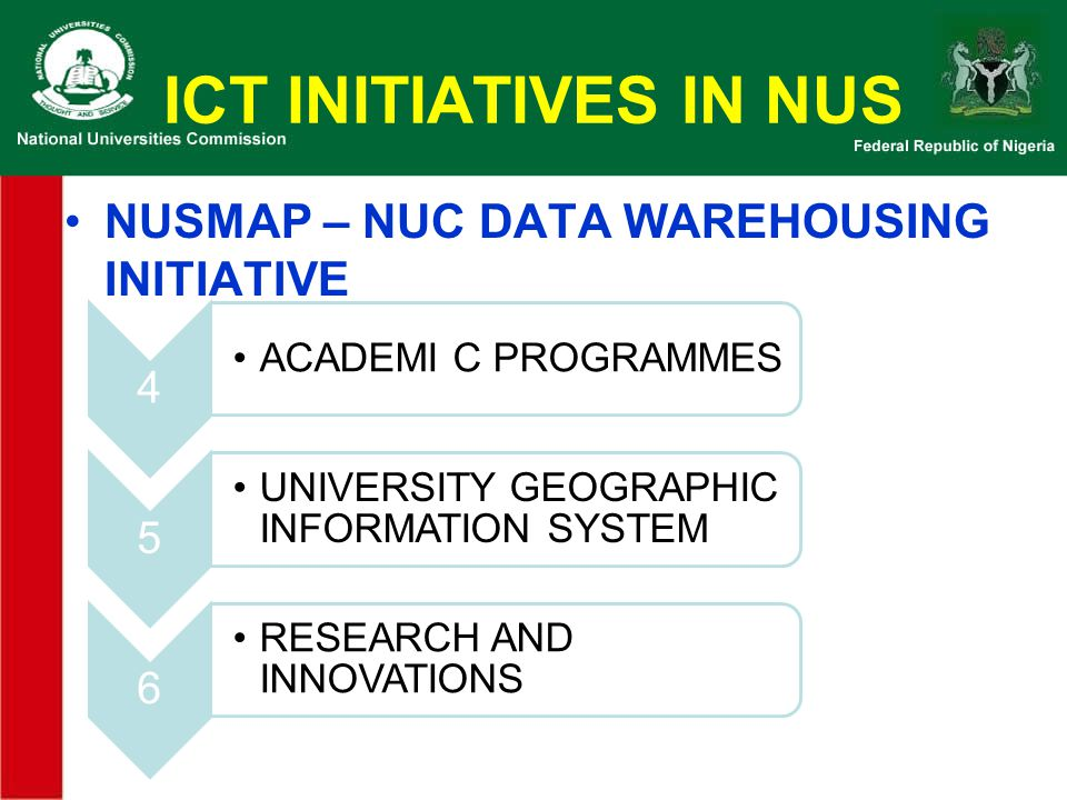 ICT INITIATIVES IN NUS NUSMAP – NUC DATA WAREHOUSING INITIATIVE 4