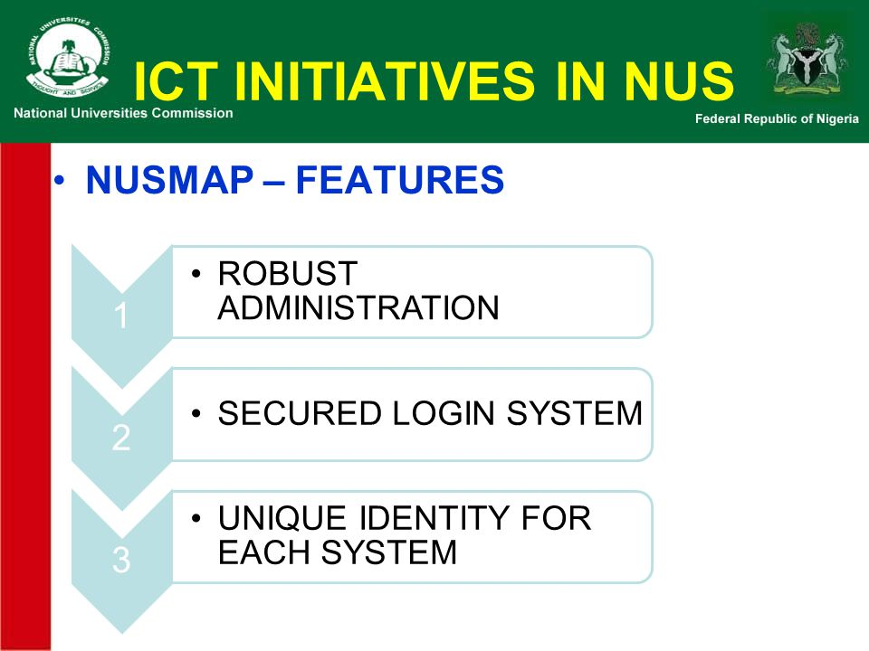 ICT INITIATIVES IN NUS NUSMAP – FEATURES 1 ROBUST ADMINISTRATION 2