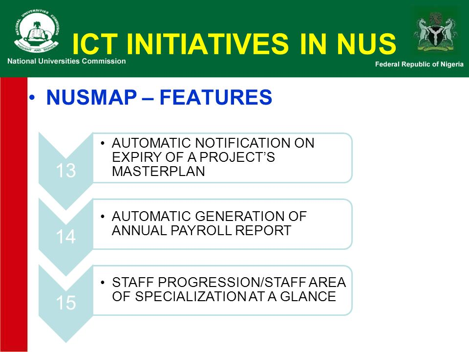 ICT INITIATIVES IN NUS NUSMAP – FEATURES 13