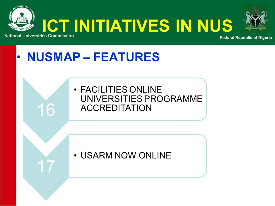 ICT INITIATIVES IN NUS NUSMAP – FEATURES 16