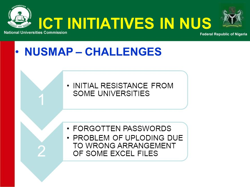 ICT INITIATIVES IN NUS NUSMAP – CHALLENGES 1