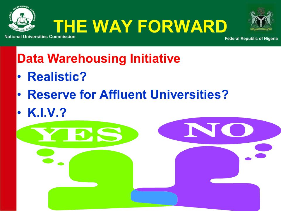 THE WAY FORWARD Data Warehousing Initiative Realistic