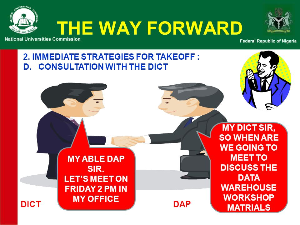 THE WAY FORWARD 2. IMMEDIATE STRATEGIES FOR TAKEOFF :