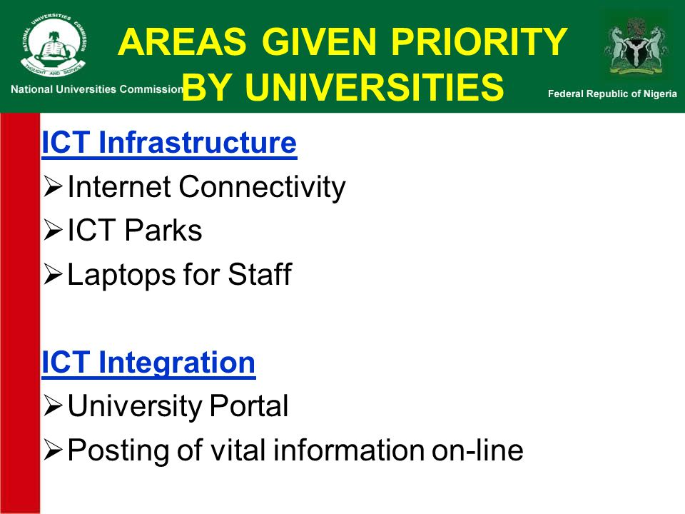AREAS GIVEN PRIORITY BY UNIVERSITIES