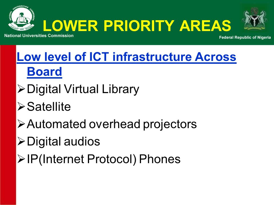 LOWER PRIORITY AREAS Low level of ICT infrastructure Across Board
