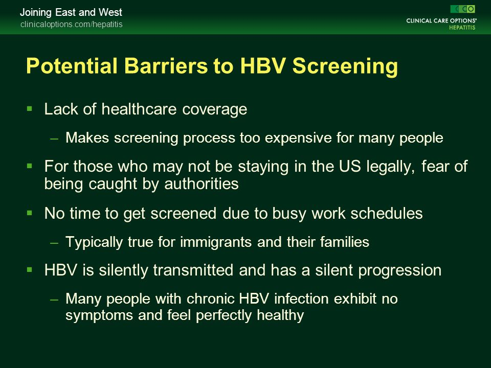 Potential Barriers to HBV Screening