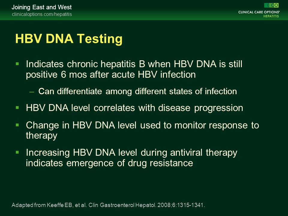 HBV DNA Testing Indicates chronic hepatitis B when HBV DNA is still positive 6 mos after acute HBV infection.