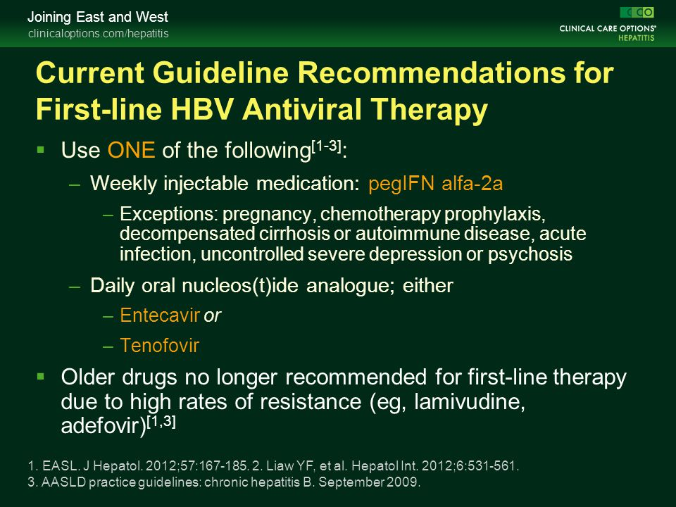 Current Guideline Recommendations for First-line HBV Antiviral Therapy