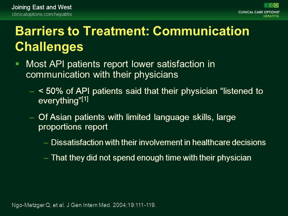 Barriers to Treatment: Communication Challenges