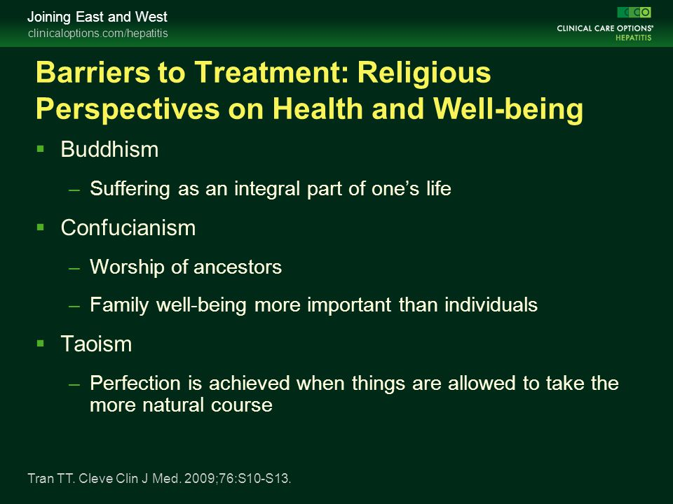 Barriers to Treatment: Religious Perspectives on Health and Well-being