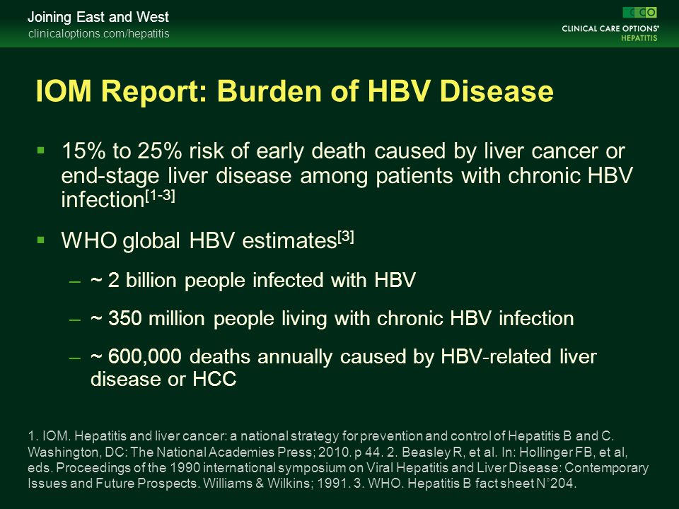 IOM Report: Burden of HBV Disease