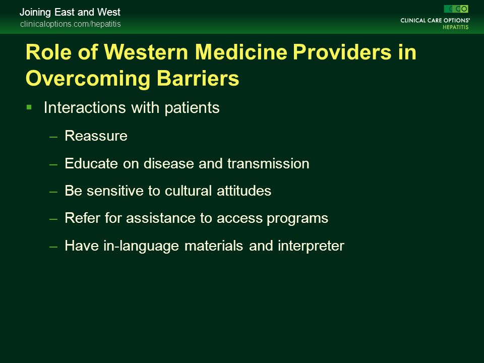 Role of Western Medicine Providers in Overcoming Barriers