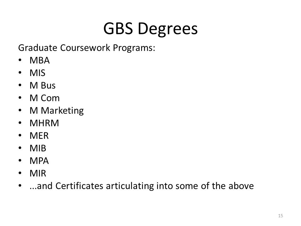 GBS Degrees Graduate Coursework Programs: MBA MIS M Bus M Com
