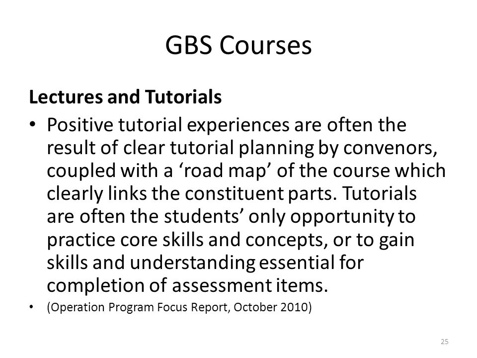 GBS Courses Lectures and Tutorials