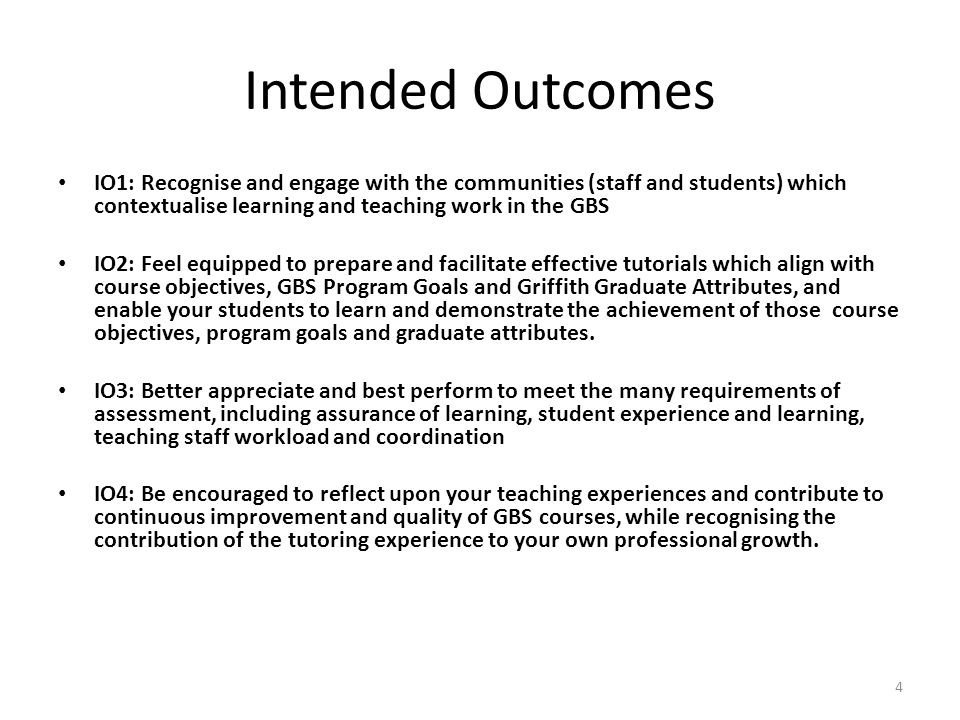 Intended Outcomes IO1: Recognise and engage with the communities (staff and students) which contextualise learning and teaching work in the GBS.