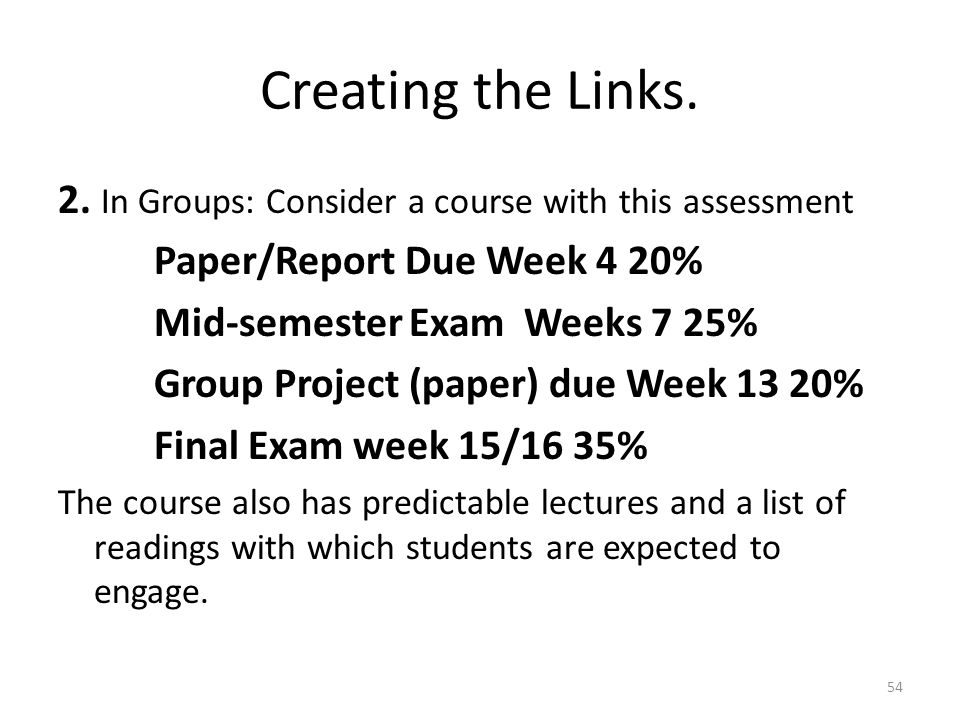 Creating the Links. 2. In Groups: Consider a course with this assessment. Paper/Report Due Week 4 20%