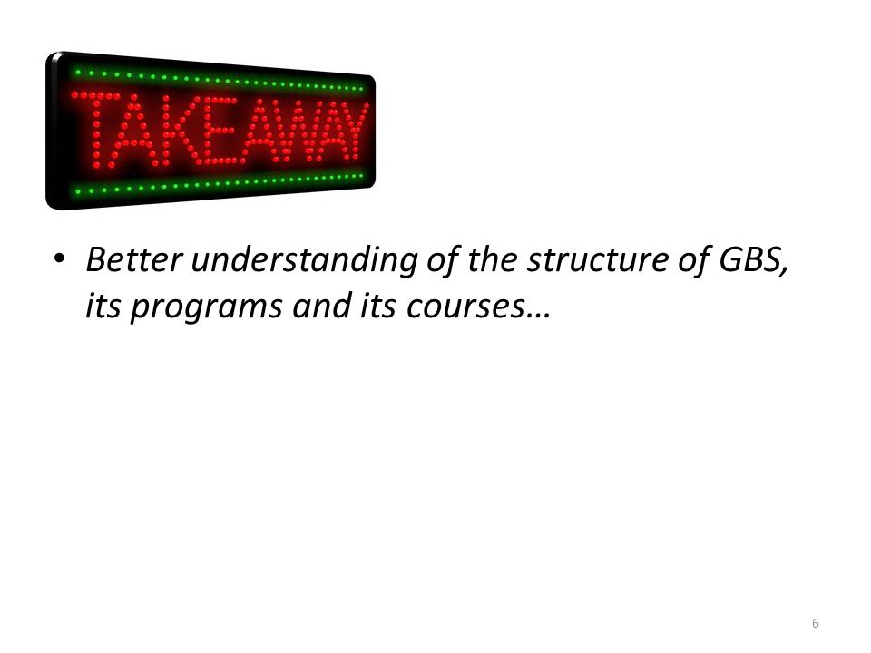 Better understanding of the structure of GBS, its programs and its courses…