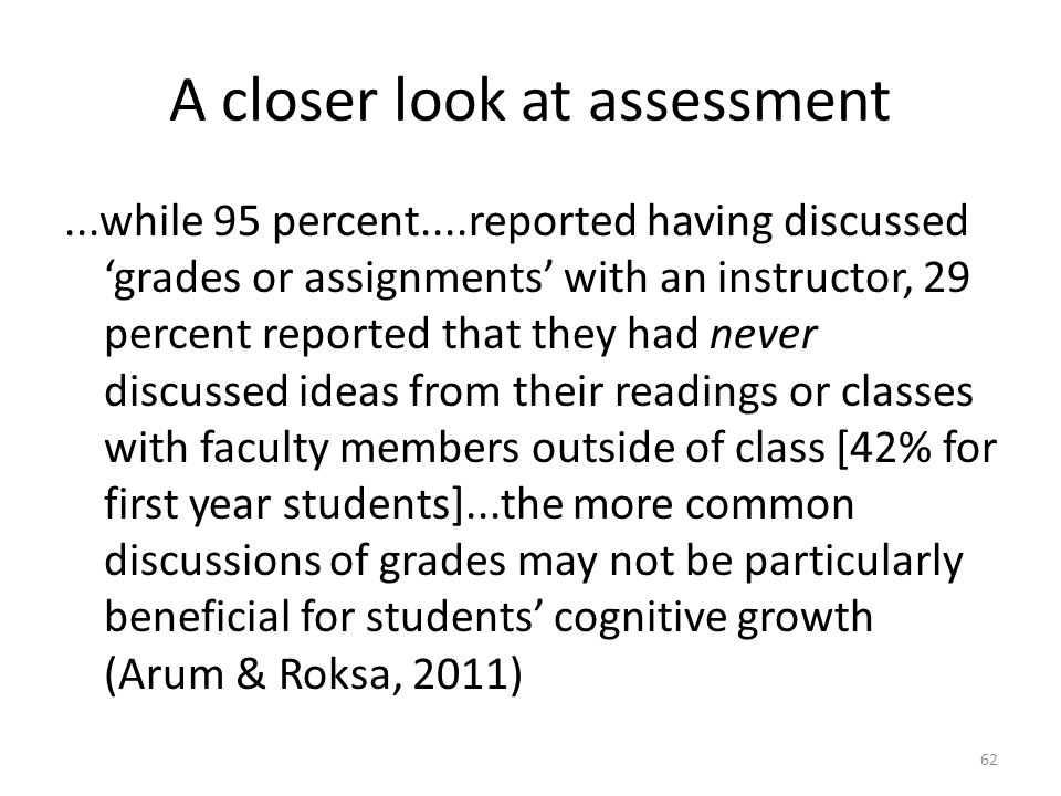 A closer look at assessment