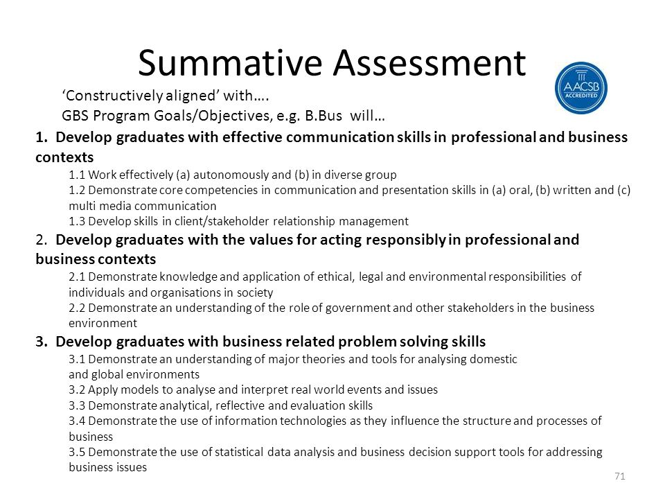 Summative Assessment 'Constructively aligned' with….
