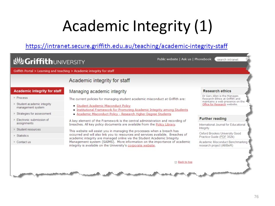 Academic Integrity (1) https://intranet.secure.griffith.edu.au/teaching/academic-integrity-staff
