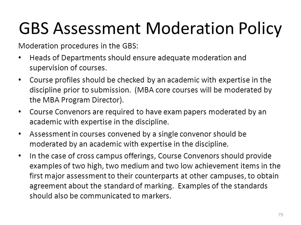 GBS Assessment Moderation Policy