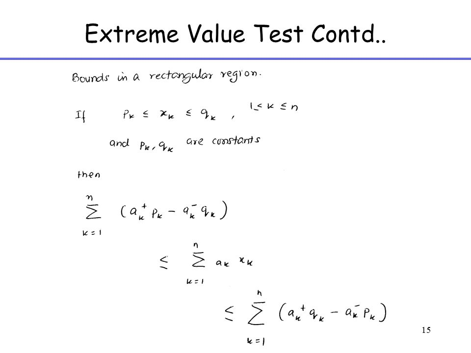 Extreme Value Test Contd..