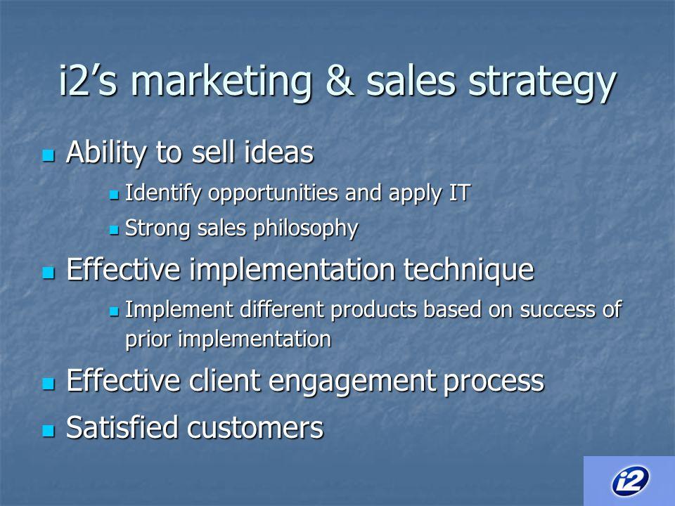i2's marketing & sales strategy