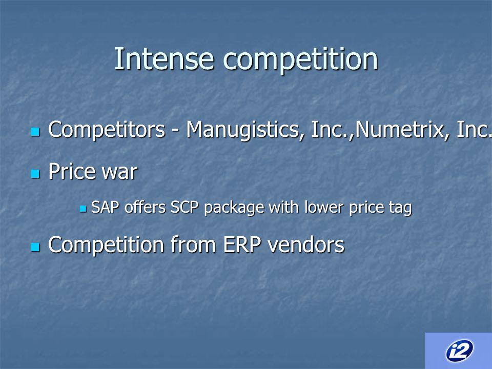 Intense competition Competitors - Manugistics, Inc.,Numetrix, Inc.