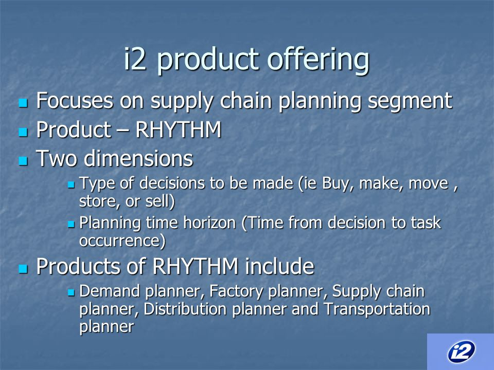 i2 product offering Focuses on supply chain planning segment
