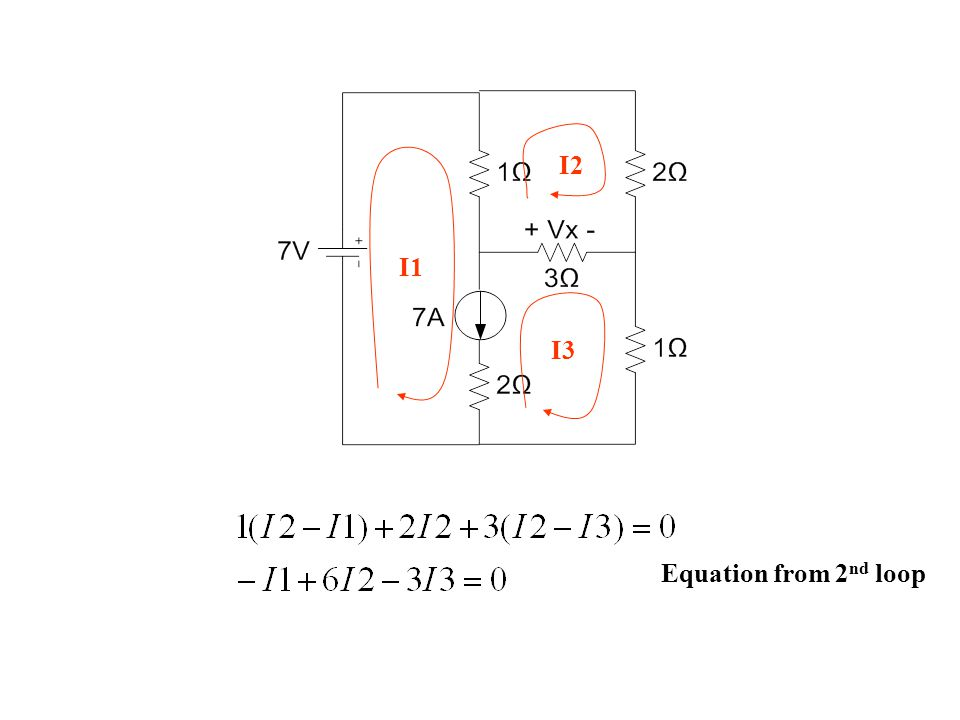 I1 I2 I3 Equation from 2nd loop