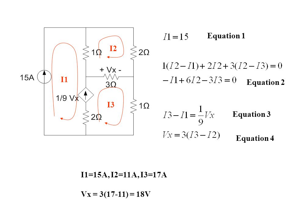 Equation 1 I1 I2 I3 Equation 2 Equation 3 Equation 4 I1=15A, I2=11A, I3=17A Vx = 3(17-11) = 18V