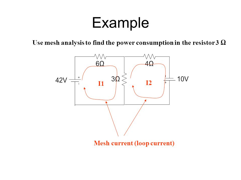 Example Use mesh analysis to find the power consumption in the resistor 3 Ω.