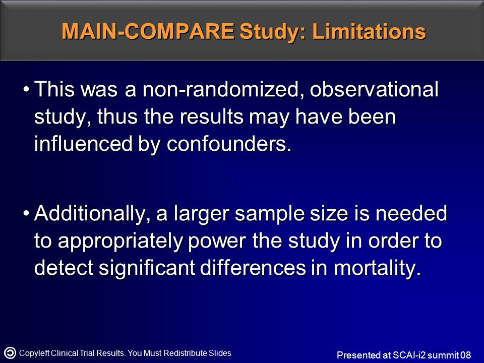 MAIN-COMPARE Study: Limitations