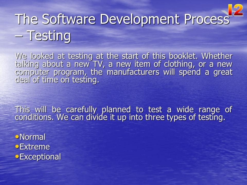 The Software Development Process – Testing