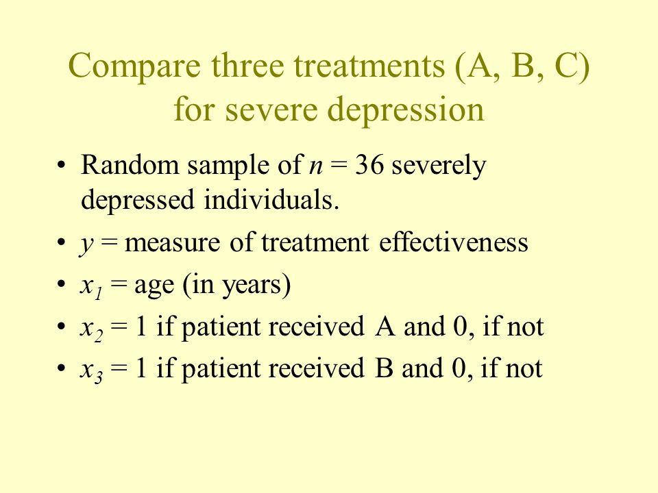 Compare three treatments (A, B, C) for severe depression